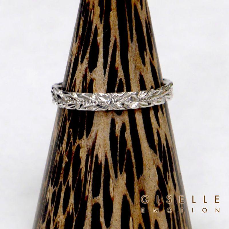 ハワイアンジュエリー ペアリング『ハードプラチナ950ダイヤモンドリング』深堀りのアップ画像